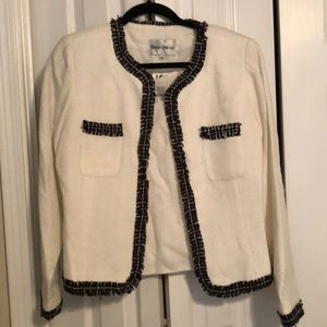 2 piece Black and White blouse and matching jacket